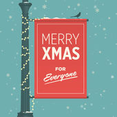 Merry christmas card retro vintage — Vecteur