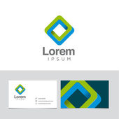 Logo design element with business card template — Stock Vector