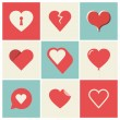 Heart Icons Set — Stockvektor