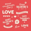 Vector de stock : Valentines day illustrations and typography elements