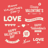 Valentines day illustrations and typography elements — ストックベクタ