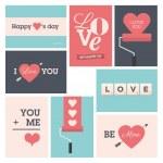 set di cartoline di San Valentino — Vettoriale Stock