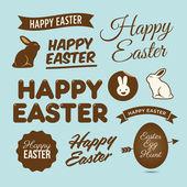 Счастливой Пасхи элементы дизайна, эмблемы и этикетки — Cтоковый вектор
