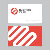 Business card template with abstract geometric logo — Stock Vector