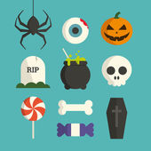 Halloween symbol illustration set vector — Stok Vektör