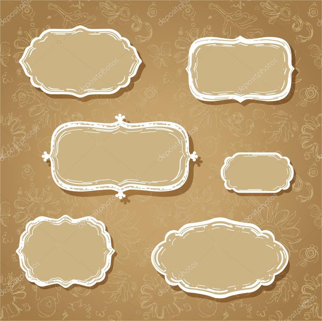sketchy classic cloud shaped frames on seamless fanciful