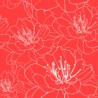 Seamless floral background with white outlined flowers on red. (vector) - Stock Vector