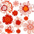 Seamless background with stylized scarlet flowers. (vector) - Stock Vector