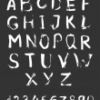 Sketchy alphabet with numbers. — Stock vektor