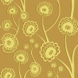 Yellow seamless floral background with stylized flowers. Vector illustration. - Stock Vector