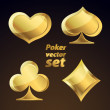 Set of gold playing cards symbols. Vector design elements. — Stock Vector #13352990