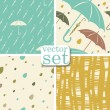 Stock Vector: Vector set. 4 seamless Autumn backgrounds with raindrops, umbrella