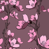 Beautiful seamless background with apple tree flowers and branches. (vector) — Stok Vektör