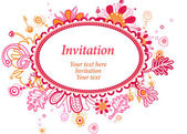 Fanciful oval invitation or greeting card with floral ornament (vector). — Stock Vector