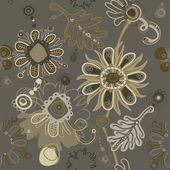 Fanciful feminine gray seamless floral pattern. — Stock Vector