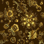 Fanciful feminine gold seamless floral pattern. — Stock Vector