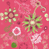 Fanciful feminine pink seamless floral pattern — Stock Vector