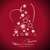красный веселая рождественская открытка с елкой. — Cтоковый вектор