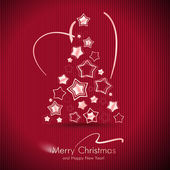 Tarjeta de navidad feliz roja con árbol de navidad. — Vector de stock