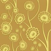 Fond floral transparente jaune avec fleurs stylisées. illustration vectorielle. — Vecteur