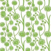 зеленый бесшовный цветочный фон с стилизованные цветы. векторные иллюстрации. — Cтоковый вектор