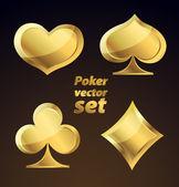 Altın iskambil simgeler kümesi. vektör tasarım öğeleri. — Stok Vektör