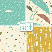Vector set. 4 seamless Autumn backgrounds with raindrops, umbrella — Stock Vector