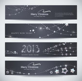 Set of horizontal Christmas, New Year banners — Stock Vector