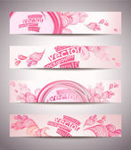 Set of banners, abstract headers with pink blots. — Stock Vector