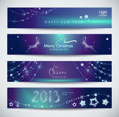Set of horizontal Christmas, New Year banners — Vettoriale Stock
