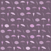 Seamless rainy pattern with umbrellas. Vector illustration — Stock Vector