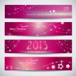 Set of pink New Year banners, abstract headers. — Stock Vector #13480493