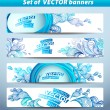 Set of banners, abstract headers with blue blots. — Vecteur