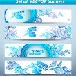Set of banners, abstract headers with blue blots. — Stock Vector