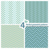 A set of 4 perfect seamless Zig zag patterns. — Stock Vector