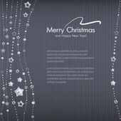 Stylish winter holidays card template with beads from stars. — Stock Vector