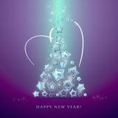 Tarjeta de felicitación con árbol de navidad hecho de rutilantes estrellas. vector. — Vector de stock
