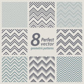 A set of 8 seamless retro Zig zag patterns. — Stockvector