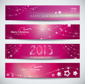 Set of pink New Year banners, abstract headers. — Stock Vector