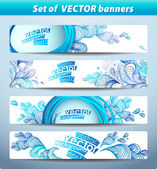 Set of banners, abstract headers with blue blots. — Stok Vektör