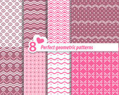 A set of seamless Zig zag and patterns with dots. — Stock Vector
