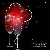Dwa kieliszki do szampana z rozchlapać serce streszczenie. — Wektor stockowy
