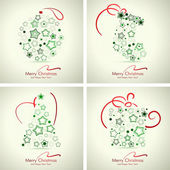 Set of 4 winter holidays cards. — Stock Vector