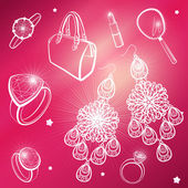 Lady's dream icons. Different accessories. Vector set. — Stock Vector