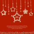 Winter holidays card template with decorated stars. — Stock vektor