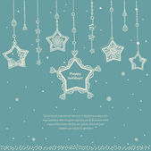 Winter holidays card template with decorated stars. — Stock Vector