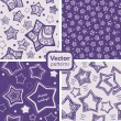 A set of 4 festive seamless patterns with decorated stars. — Stock Vector #14793301