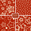 A set of 4 festive seamless patterns with decorated stars. — Stock Vector
