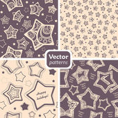 A set of 4 festive retro patterns with decorated stars. — Stock Vector
