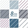A set of 8 striped patterns. Seamless vectors. - Vettoriali Stock